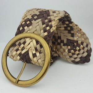 Accessories - Brown & Gold Suede Leather Braided Woven Belt